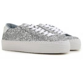 Chiara Ferragni Sneakers donna in brillantini argento con suola alta