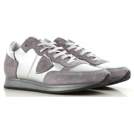 Philippe Model Sneakers donna in pelle e tessuto argento