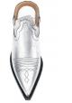 Maison Margiela Ciabatte donna in Laminato argento con tacco texano