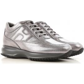 Hogan interactive sneakers da donna in pelle laminata argento