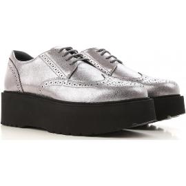 Hogan urban scarpe Stringate donna in pelle argento con para nera