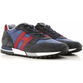 Hogan H383 RUNNING Sneakers uomo in pelle nabuk e tessuto blu e rosso