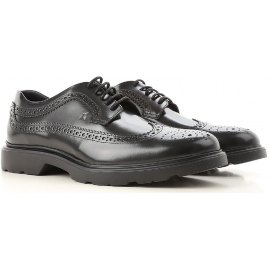 Hogan H393 DERBY Stringate uomo in Pelle lucida nera con brogue