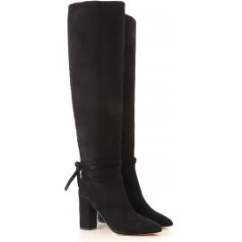 Aquazzura MILANO BOOT 85 Stivali donna neri al ginocchio con tacco quadrato