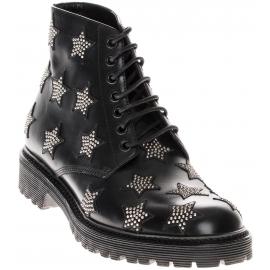 Saint Laurent Stivali da donna alla caviglia con lacci pelle di vitello nera