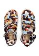 Sandali zeppe MSGM in tessuto multicolore