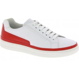 Prada Sneakers low top con lacci da uomo in pelle di vitello bianca e rossa