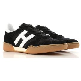Sneakers Hogan da uomo in pelle e tessuto nero
