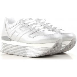 Sneakers zeppa Hogan in pelle metallizzata argento