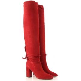 Aquazzura MILANO BOOT 85 Stivali donna rossi al ginocchio con tacco quadrato