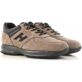 Hogan INTERACTIVE Sneakers uomo marrone chiaro in pelle nabuk