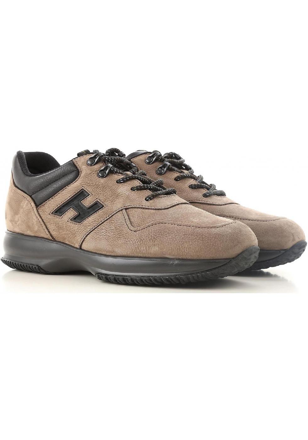 146bd3d939 Hogan INTERACTIVE Sneakers uomo marrone chiaro in pelle nabuk ...