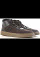 Hogan H365 Sneakers uomo alte in pelle nabuk marrone scuro