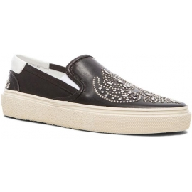 Saint Laurent Scarpe slip-on donna in pelle di vitello nero con decorazioni