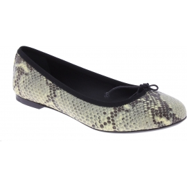 Saint Laurent Ballerine slip-on alla moda da donna in pelle di pitone grigio