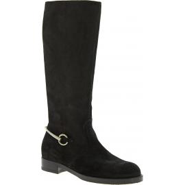 Gucci Stivali al ginocchio tacco basso donna pelle scamosciata nera con zip