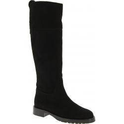 Dolce&Gabbana Stivali al ginocchio tacco basso donna pelle scamosciata nera