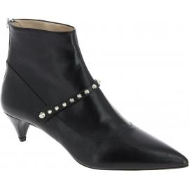 Miu Miu Stivaletti alla caviglia da donna con tacco in pelle di capretto nera