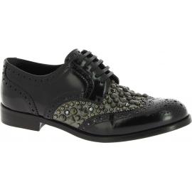 Dolce&Gabbana Scarpe stringate borchiate donna Pelle di vitello lucida nero
