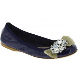 Miu Miu Scarpe ballerine slip-on con gioielli donna in pelle verniciata blu