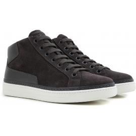 Prada Sneakers alte fashion con lacci da uomo in pelle scamosciata grigia