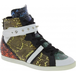 Barbara Bui Sneakers alte borchiate da donna in pelle di rettile multicolore
