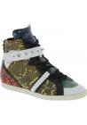 Barbara Bui Sneakers alte borchiate da donna in pelle di rettile multicolore