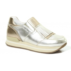 Sneakers slip-on Hogan in Pelle di vitello laminato argento