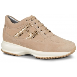 Sneakers Hogan Interactive in suede beige e paiette