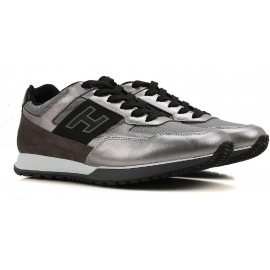 Sneakers Hogan da uomo in pelle laminata color argento