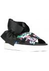 Sandalo ciabatta MSGM in pelle e tessuto nero motivo floreale