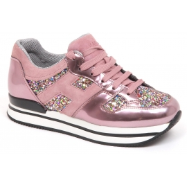 Sneakers Hogan donna in vernice rosa e brillantini