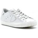 Philippe Model Sneakers fashion low top con lacci da donna in pelle argentata