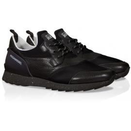 Sneakers Hogan Running R261 in pelle e tessuto nero